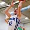 SAM HOUSEHOLDER | THE GOSHEN NEWS<br /> Bethany Christian senior Tristan Clark shoots a basket gaainst Breman Tuesday during the game.
