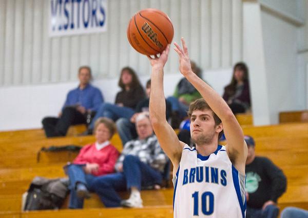 SAM HOUSEHOLDER | THE GOSHEN NEWS<br /> Bethany Christian senior shoots the ball Tuesday during the game against Breman.