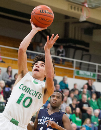 SAM HOUSEHOLDER | THE GOSHEN NEWS<br /> Concord senior Ramon Johnson shoots the ball against Elkhart Central Tuesday.