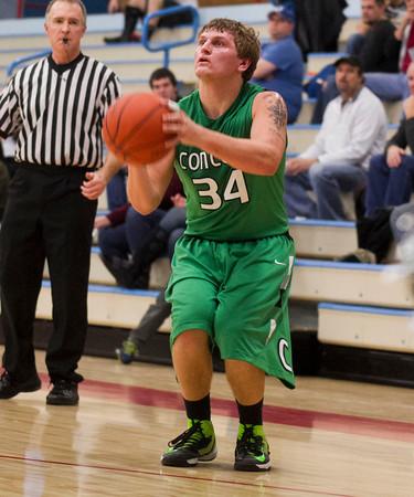 SAM HOUSEHOLDER | THE GOSHEN NEWS<br /> Concord senior Jason Cronk shoots the ball against Lakeland Wednesday.