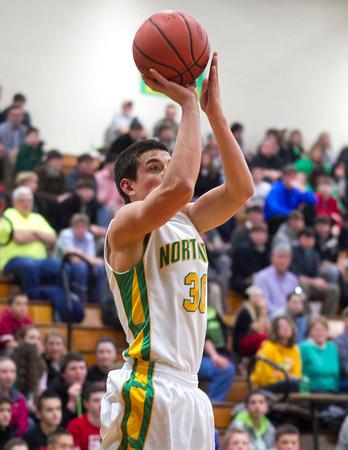SAM HOUSEHOLDER | THE GOSHEN NEWS<br /> Northridge sophomore Kurtis Hochstetler shoots the ball during the game against Concord Thursday.