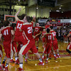 CHAD WEAVER   THE GOSHEN NEWS<br /> The Westview team celebrates on the court after defeating Lewis Cass in Saturday's 2A semi-state at Huntington North High School. Westview won 65-58.