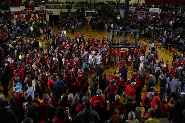 CHAD WEAVER | THE GOSHEN NEWS<br /> Westview fans fill the court as they watch the team cut down the nets Saturday's 2A semi-state at Huntington North High School. Westview won 65-58.