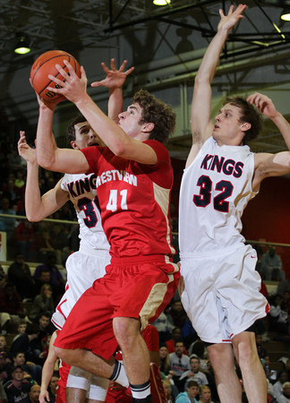 CHAD WEAVER | THE GOSHEN NEWS<br /> Westview senior Chandler Aspy takes a shot while being guarded by Evan Ohman and Drew McRae of Lewis Cass during the first half of Saturday's 2A semi-state at Huntington North High School. Westview won 65-58.