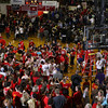 CHAD WEAVER   THE GOSHEN NEWS<br /> Westview fans fill the court as they watch the team cut down the nets Saturday's 2A semi-state at Huntington North High School. Westview won 65-58.
