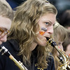 SAM HOUSEHOLDER | THE GOSHEN NEWS<br /> Westview pep band sophomore Tessa Zimmerly plays before the state championship game Saturday in Indianapolis.