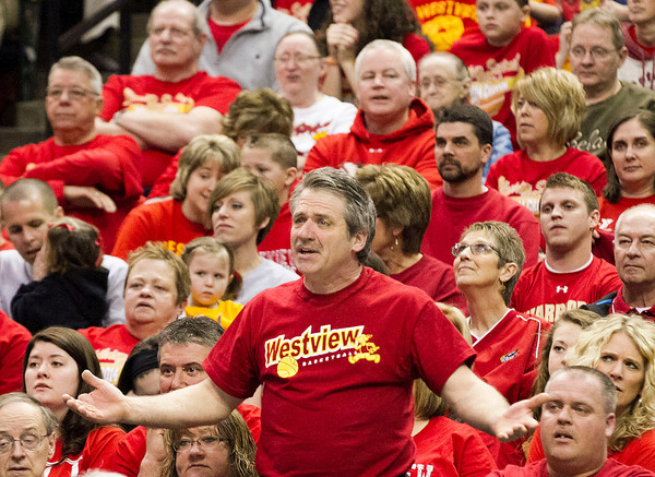 SAM HOUSEHOLDER   THE GOSHEN NEWS<br /> Westview High School fan Lowell Miller reacts to a call during the state championship game Saturday in Indianapolis. The Warriors dropped the 2A state championship game to Park Tudor 84-57.