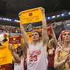 SAM HOUSEHOLDER | THE GOSHEN NEWS<br /> The Westview High School student section holds up towels in support of the Warriors Saturday following the team's 84-57 loss to Park Tudor in the 2A state championship game. In the center is Devin Sharick and right is Kyle Miller, both are seniors.