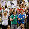 Record-Eagle/Jan-Michael Stump<br /> Traverse City St. Francis fans cheer during Saturday's Class C state finals game against Flint Beecher.