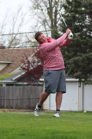 STEPHEN BROOKS | THE GOSHEN NEWS<br /> Goshen golfer Matt Truex tees off on the seventh hole at South Shore Golf Club on Saturday in the Wawasee golf invitational.