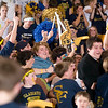 Record-Eagle/Jan-Michael Stump<br /> Traverse City St. Francis fans celebrate their 43-41 win over Charlevoix Thursday night.