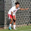 Goshen sophomore Josh Cruz laughs in disbelief after his third scoring chance of the first half went awry against Elkhart Monday. Goshen lost to the Lions, 4-1, ending Goshen's season.