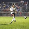 Westview sophomore Braden Eash kicks the game-winning penalty kick in sudden death to give Westview the sectional championship over Bethany Christian Saturday night in Topeka.