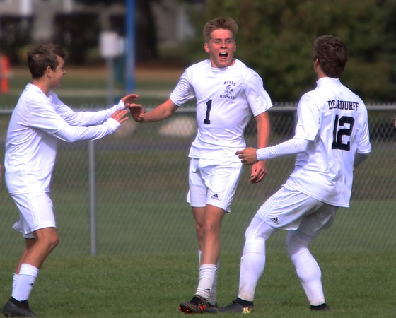 Kouts senior Jeremy Ryan (1) reacts after scoring the game-tying goal against Westview late in the second half of the regional semifinal Saturday in Argos. Kouts would go on to win the game in penalty kicks.