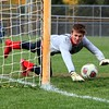 Westview senior goalkeeper Drew Litwiller goes to make a save during the sudden death penalty kicks loss to Kouts in the Class 2A regional semifinal Saturday at Argos.
