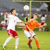 SAM HOUSEHOLDER | THE GOSHEN NEWS<br /> Goshen senior Kevin Garcia tries to kill a ball during the game against Warsaw Thursday at Goshen High School.