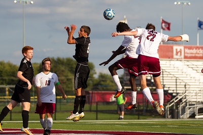 Danville High School senior Zach Callahan (22) with the header for the score to tie the game at 2 all during the match between Cascade and Danville at Danville High School in Danville,IN. (Jeff Brown/Flyer Photo)