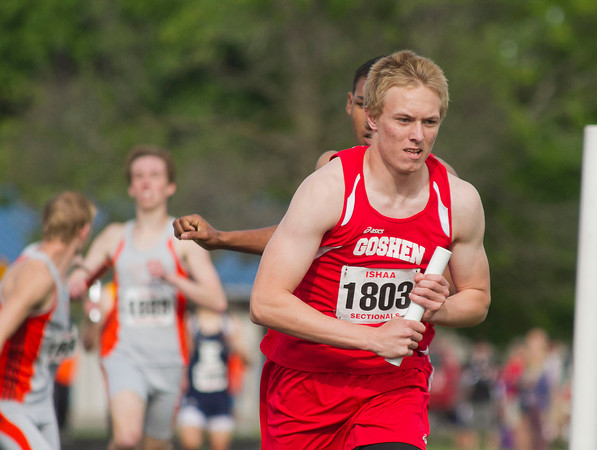SAM HOUSEHOLDER | THE GOSHEN NEWS<br /> Goshen sophomore Colton Potter runs during the 3200 meter relay Thursday at the sectional track meet at Goshen High School.