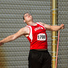 SAM HOUSEHOLDER | THE GOSHEN NEWS<br /> Goshen junior Nick Gerber throws discus Thursday during the boys track sectional hosted at Goshen High School.