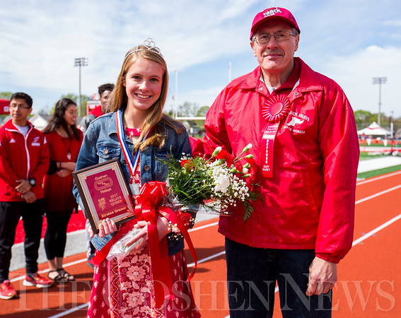 JAY YOUNG | THE GOSHEN NEWS<br /> Goshen High senior Kirsten Graves was named Goshen Relays Queen while Gary Haney was named Honorary Referee during the 75th running of the Goshen Relays Saturday at Goshen High School.