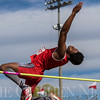 JAY YOUNG | THE GOSHEN NEWS<br /> Goshen's Rummel Johnson extends his arm and arches his back as he clears the bar while competing in the high jump during the 75th running of the Goshen Relays Saturday at Goshen High School.