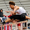 JAY YOUNG | THE GOSHEN NEWS<br /> Concord's Damien Jackson lets out a yell as he clears a hurdle while competing in the 110 meter high hurdle trials during the 75th running of the Goshen Relays Saturday at Goshen High School.