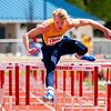 JAY YOUNG   THE GOSHEN NEWS<br /> Fairfield's Connor Kitson clears a hurdle while competing in the finals of the 110 meter high hurdles during the 75th running of the Goshen Relays Saturday at Goshen High School.