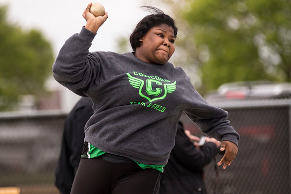 JAY YOUNG   THE GOSHEN NEWS<br /> Concord's ZaCarra Marsh competes in the shot put event during the Norther Lakes Conference Championship track meet Tuesday evening in Warsaw.