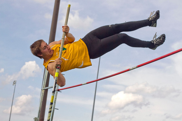 SAM HOUSEHOLDER   THE GOSHEN NEWS<br /> Northridge Dean Ridenour clears the pole vault Friday during the Kelly Relays at Concord High School.