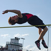 SAM HOUSEHOLDER | THE GOSHEN NEWS<br /> NorthWood's Devon Hunsberger clears the high jump Friday during the Kelly Relays.