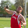 SAM HOUSEHOLDER | THE GOSHEN NEWS<br /> Goshen's Mitchell Watts throws the shot put Friday during the Kelly Relays at Concord High School.