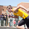 SAM HOUSEHOLDER | THE GOSHEN NEWS<br /> Northridge runner Darian Johnson takes off during a relay race Saturday.