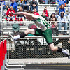 SAM HOUSEHOLDER | THE GOSHEN NEWS<br /> Wawasee runner Clayton Cook leads the Class B high hurdles final Saturday during the Goshen Relays.