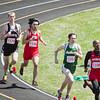 SAM HOUSEHOLDER | THE GOSHEN NEWS<br /> From right, Fort Wayne North Side runner Valentin Emmanuel leads Northridge's Blake O'Dell, Goshen's Gerardo Abad and Laporte's Sam Miller.