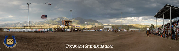 The Bozeman Stampede - 2010 Photography by Jim R Harris Bozeman Montana Panoramic View of the rodeo arena and Helicopter flying over with the American Flag Gallatin County Fairgrounds