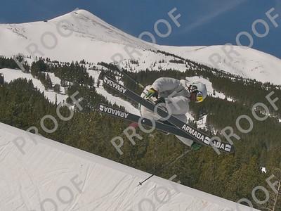 Terrain park, Peak 8, Breckenridge. Model: Unknown, but he has Armada skis. Peaks 8 and 7 in the background.