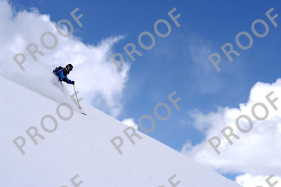 Descending from the heavens (summit of Peak 8, north face).
