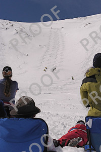 For 25 years, Breckenridge hosted a figure 8 contest in which brothers Mike and Todd participated and did well in many contests. They even got to ride a helicopter to the top of Imperial Bowls for the finals when they were held there! (twice). Here the finalists are going ski-to-ski on Peak 7 down Y-Chute. This shot was used in a subsequent poster for the contest.
