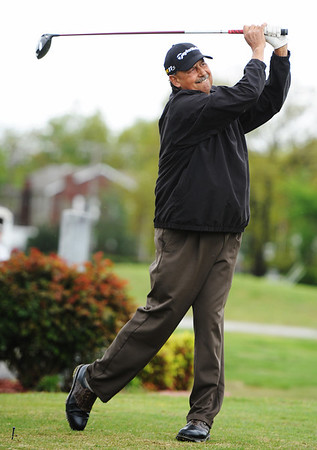 Globe/T. Rob Brown<br /> Defending champion Les Taylor, of Carl Junction, tees off on the first hole Saturday afternoon, May 4, 2013, at Briarbrook Country Club in Carl Junction.