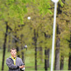 Globe/T. Rob Brown<br /> Ben Starkey of Webb City watches his chip drop toward the final hole Saturday afternoon, May 4, 2013, at Briarbrook Country Club in Carl Junction.