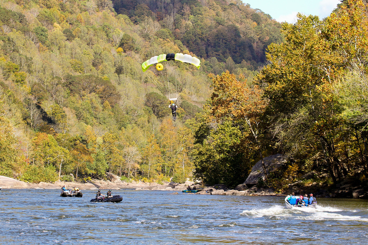 """32nd Annual Bridge Day Celebration, Fayetteville, West Virginia, October 15, 2011.  Hover mouse over photo and click """"X3"""" to enlarge photo's.  About half the jumpers land in the New River and are rescued by boat personnel."""