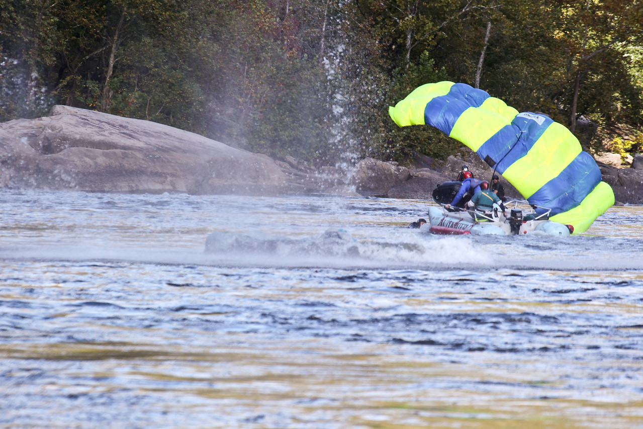 "Christopher Brewer jump at Bridge Day 2011.  Photo 7 of 9.  To everyone's horror his chute did not open all the way.  It is estimated he struck the water at between 60 and 80 mph.  Four days following the incident he is in critcal, but stable condition.  32nd Annual Bridge Day Celebration, Fayetteville, West Virginia, October 15, 2011.  Hover mouse over photo and click ""X3"" to enlarge photo's."