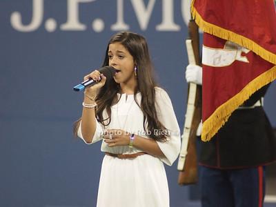 Adrienne Santiago sings America the Beautiful at  US Open Tennis all photos by Rob Rich © 2013 robwayne1@aol.com 516-676-3939