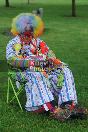 "This clown was deck out, however, he wasn't part of the show... In fact, I don't think he ever got up from his chair.  So was he ""a clown not performing"", or someone who just goes out dressed like a clown?  We'll never know."