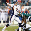 Denver Broncos' Kyle Orton passes in the first half of an NFL football game against the Philadelphia Eagles, Sunday, Dec. 27, 2009, in Philadelphia. (AP Photo/Michael Perez)