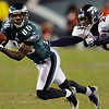 Philadelphia Eagles' Reggie Brown, left, pulls in a pass as Denver Broncos' Andre' Goodman defends in the second half of an NFL football game, Sunday, Dec. 27, 2009, in Philadelphia. Philadelphia won 30-27. (AP Photo/Matt Slocum)