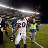Denver Broncos' Brian Dawkins waves to the crowd after an NFL football game against the Philadelphia Eagles, Sunday, Dec. 27, 2009, in Philadelphia. Philadelphia won 30-27. (AP Photo/Michael Perez)