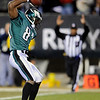Philadelphia Eagles' Jason Avant spikes the ball after catching a touchdown pass in the second half of an NFL football game against the Denver Broncos, Sunday, Dec. 27, 2009, in Philadelphia. (AP Photo/Michael Perez)