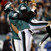 Philadelphia Eagles' Sav Rocca, left, celebrates with David Akers after Akers kicked the go-ahead field goal in the second half of an NFL football game against the Denver Broncos, Sunday, Dec. 27, 2009, in Philadelphia. Philadelphia won 30-27. (AP Photo/Mel Evans)