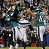 From left, Philadelphia Eagles' Sav Rocca, David Akers and Alex Smith celebrate after Akers kicked the go-ahead field goal in the second half of an NFL football game against the Denver Broncos, Sunday, Dec. 27, 2009, in Philadelphia. Philadelphia won 30-27. (AP Photo/Michael Perez)